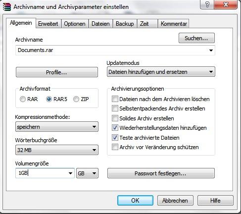 mögliche Einstellungen für das Archivieren von Dateien